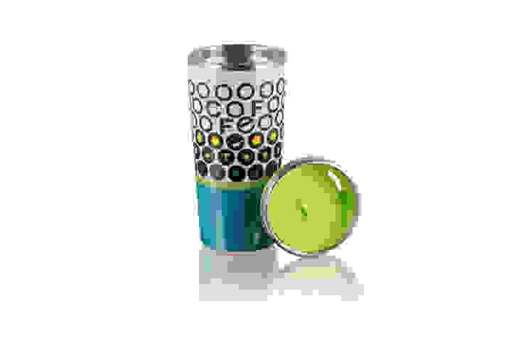 Kubek termiczny termos 400ml Kropki Turkus od Silly Design - prezentowa porcelana Nowoczesny