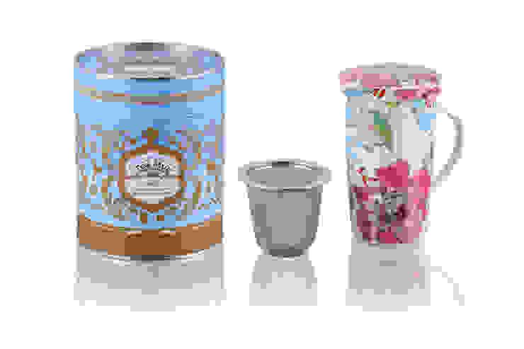 Kubek 350ml z zaparzaczem Białe Kwiaty od Silly Design - prezentowa porcelana Rustykalny