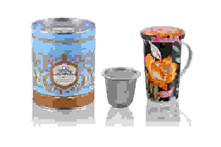 Kubek 350ml z zaparzaczem Czarne Kwiaty od Silly Design - prezentowa porcelana Klasyczny