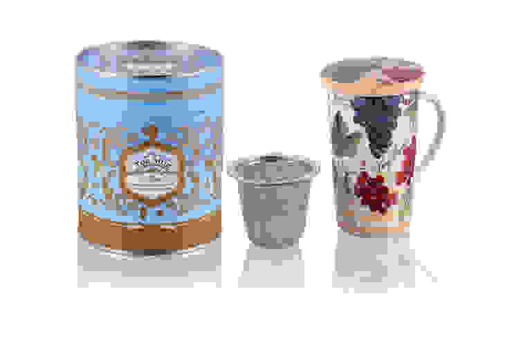 Kubek 350ml z zaparzaczem Jarzębinka od Silly Design - prezentowa porcelana Rustykalny