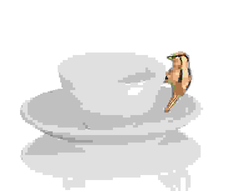 Porcelanowa Filiżanka ze spodeczkiem De Luxe Gold od Silly Design - prezentowa porcelana Minimalistyczny
