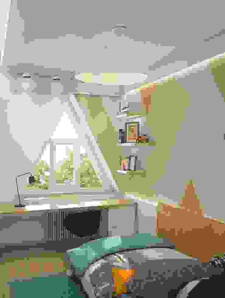 Triangle window Детская комнатa в стиле минимализм от E_interior Минимализм