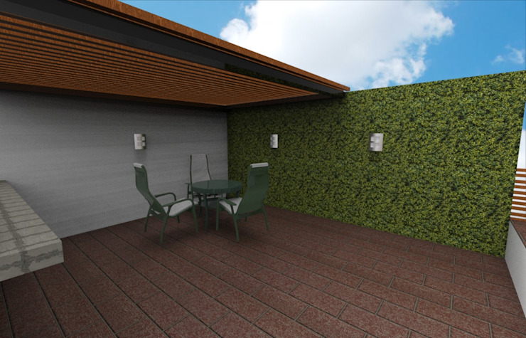 Muro verde sintetico :  de estilo tropical por Armatoste studio, Tropical