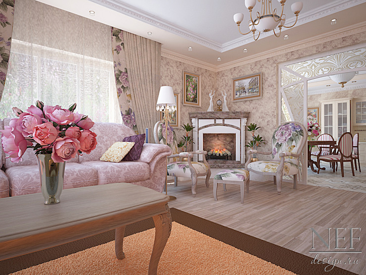 Salas / recibidores de estilo  por Юлия Паршихина, Clásico