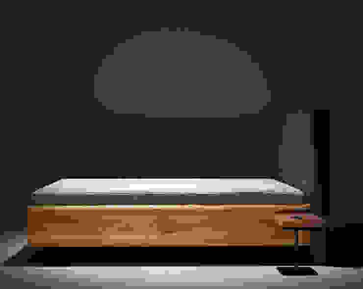 Łóżko BOXSPRING od mazzivo Nowoczesny Kompozyt drewna i tworzywa sztucznego