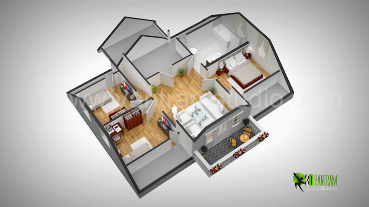 3D Wall Cut floor Plan por Yantram Architectural Design Studio
