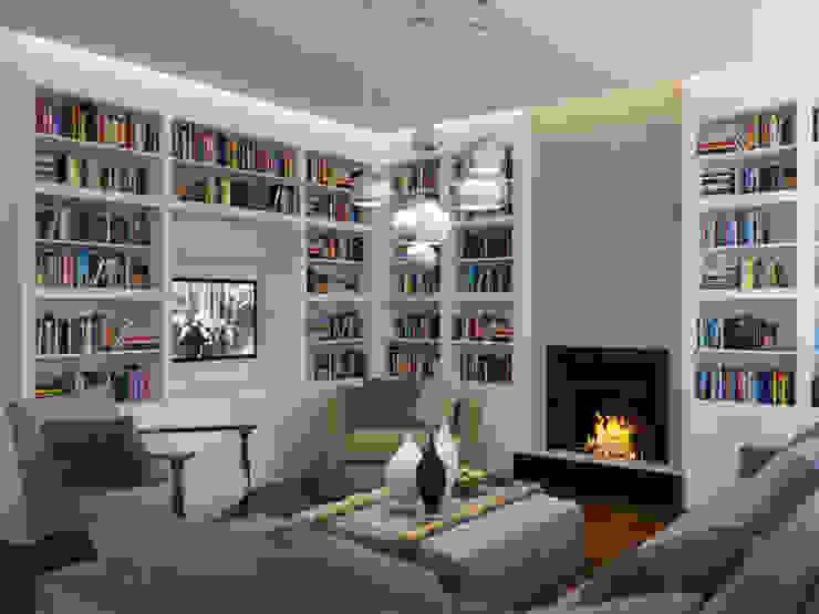 Белая гостиная Гостиная в стиле минимализм от K-Group Минимализм