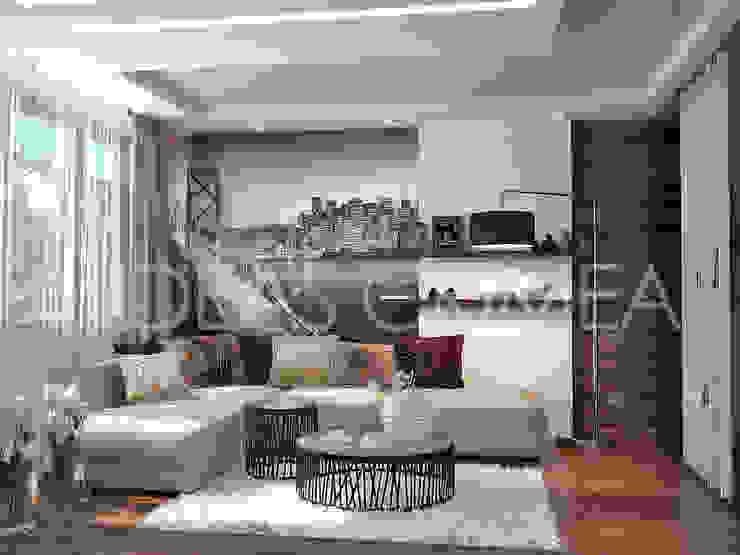 Сафари стиль для гостиной Гостиная в стиле минимализм от Студия дизайна Interior Design IDEAS Минимализм