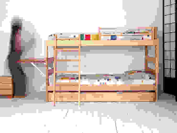 Litera infantil con cama Nido y escalera inclinada de Haiku-Futon Minimalista