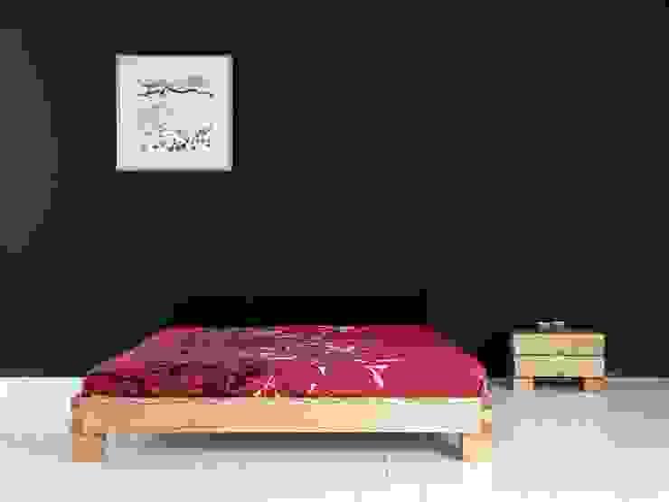 Cama Ombu con mesilla de noche Ombu de 2 cajones en maderas de roble macizas de Haiku-Futon Minimalista