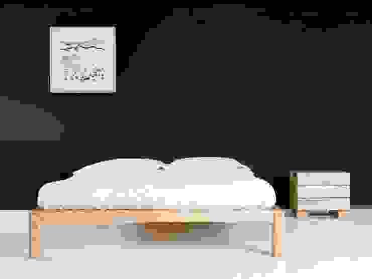 Cama Samura sin cabezal y mesilla Ombu de 3 cajones en maderas de roble macizas de Haiku-Futon Minimalista