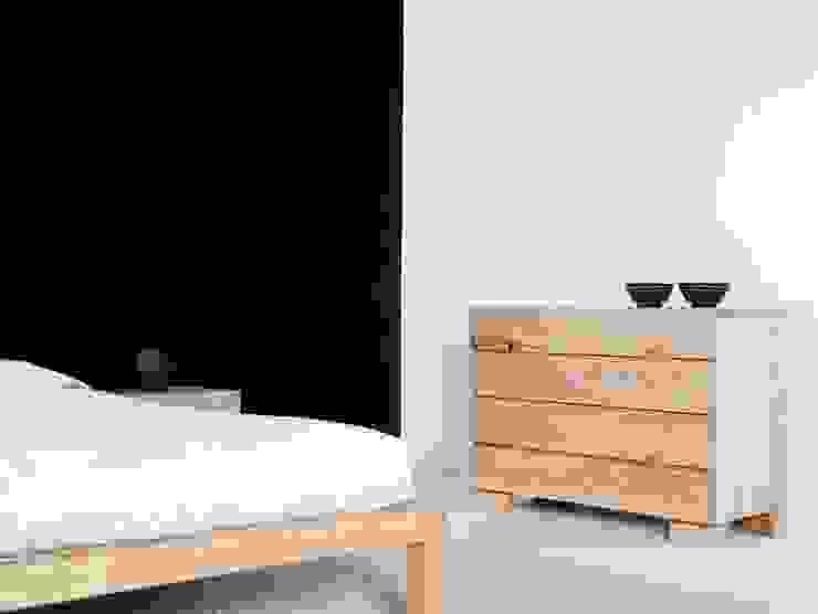 Cama Samura y cómoda Ombu en maderas de roble macizas de Haiku-Futon Minimalista