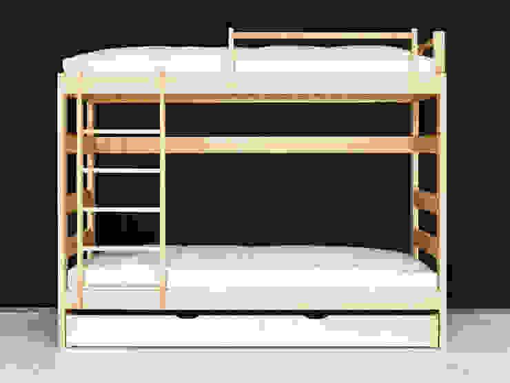 Litera juvenil de madera de 140cm. de altura con cama Nido y escalera vertical de Haiku-Futon Minimalista