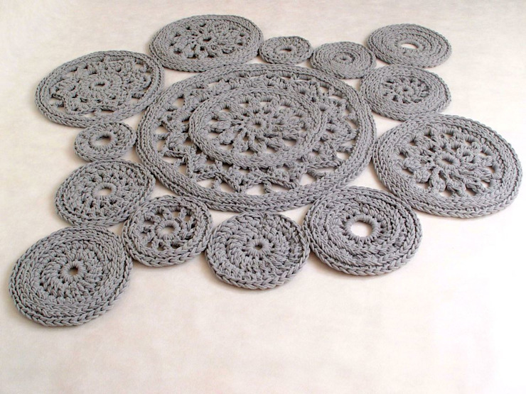 Ręcznie wykonany, dziergany, szydełkowany dywan model LILLE, materiał bawełna, kolor 13 od RENATA NEKRASZ art & design Skandynawski