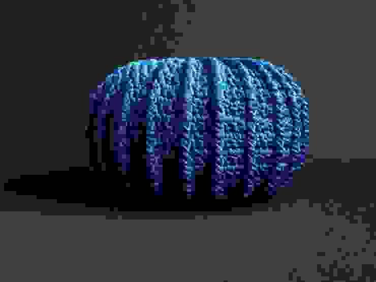 Pufa, ottoman, podnóżek , dziergana, szydełkowana model LONDON 80cm, materiał jedwab PP, kolor 12 /niebieski/ od RENATA NEKRASZ art & design Skandynawski
