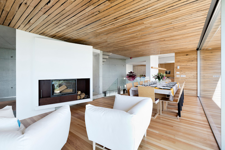dezanove house designed by iñaki leite - fireplace Salones modernos de Inaki Leite Design Ltd. Moderno