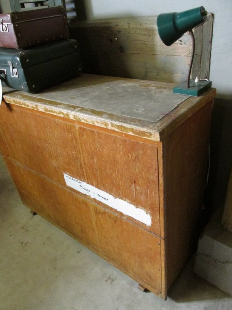 Oude schoolplaten kast van Were Home Rustiek & Brocante