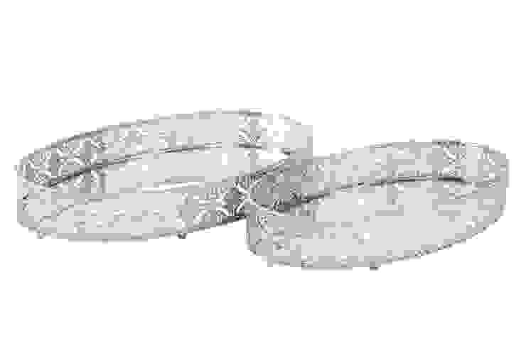 Bandejas de metal decorado con base de espejo. de Goyart.com Asiático