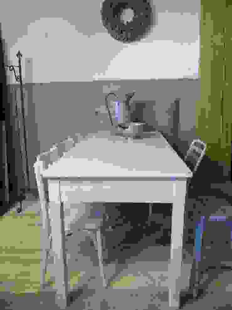 Smalle brocante witte tafel met 4 lades van Were Home Rustiek & Brocante