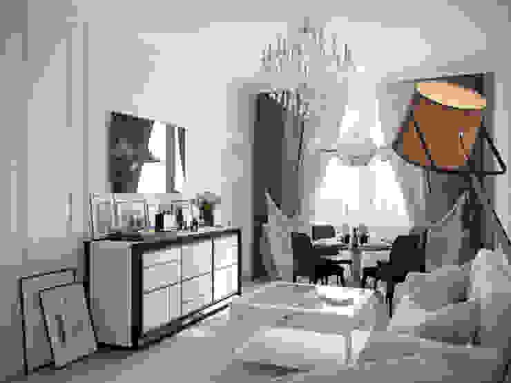 Квартира в ЖК <q>Суоми</q> Гостиные в эклектичном стиле от Студия дизайна интерьера Маши Марченко Эклектичный