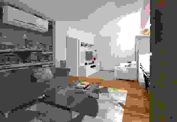 Estar e Jantar madeira e tons neutros Salas multimídia modernas por Elaine Medeiros Borges design de interiores Moderno