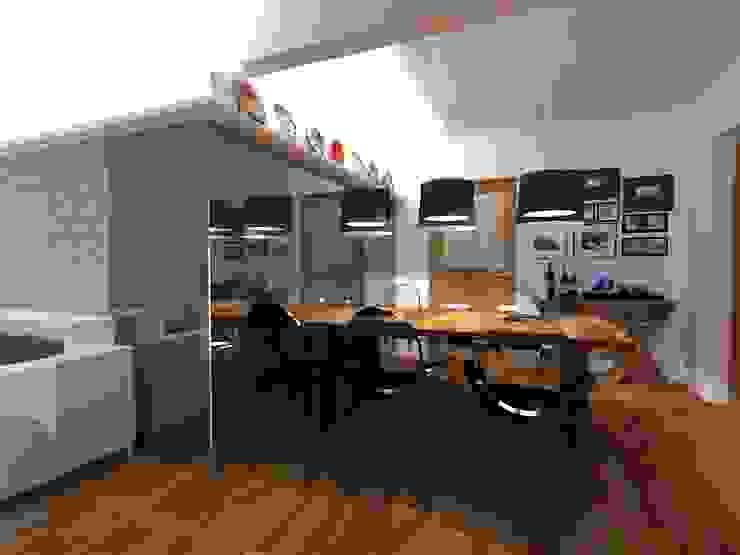 Estar e Jantar madeira e tons neutros Salas de jantar modernas por Elaine Medeiros Borges design de interiores Moderno