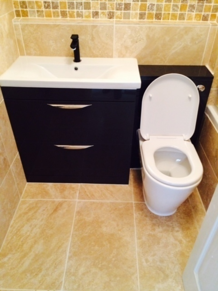 Bathroom with black at Royal Victoria Docks London E16 by Design Inspired Ltd