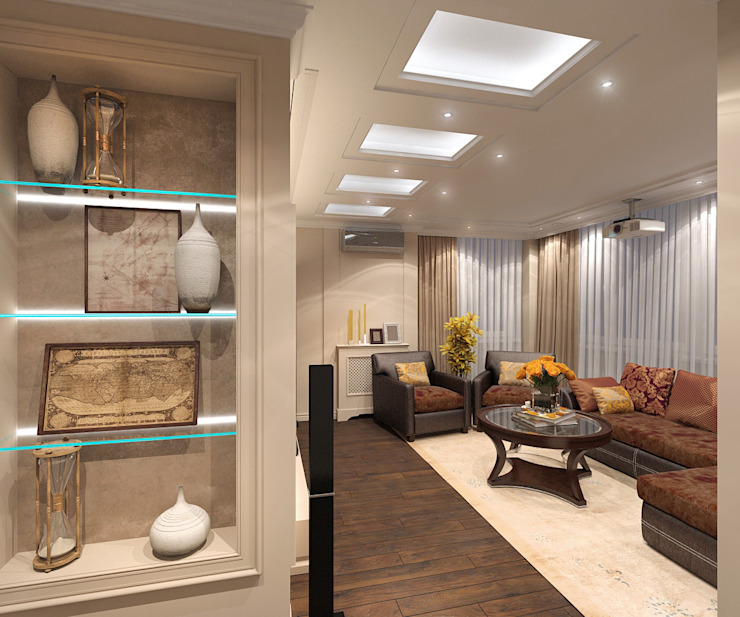 Гостиная, объединенная с лоджией Гостиные в эклектичном стиле от Aledoconcept Эклектичный