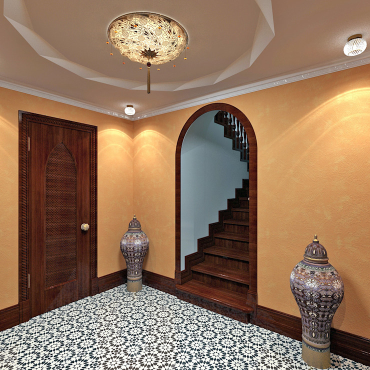 Холл в цокольном этаже Aledoconcept Коридор, прихожая и лестница в азиатском стиле