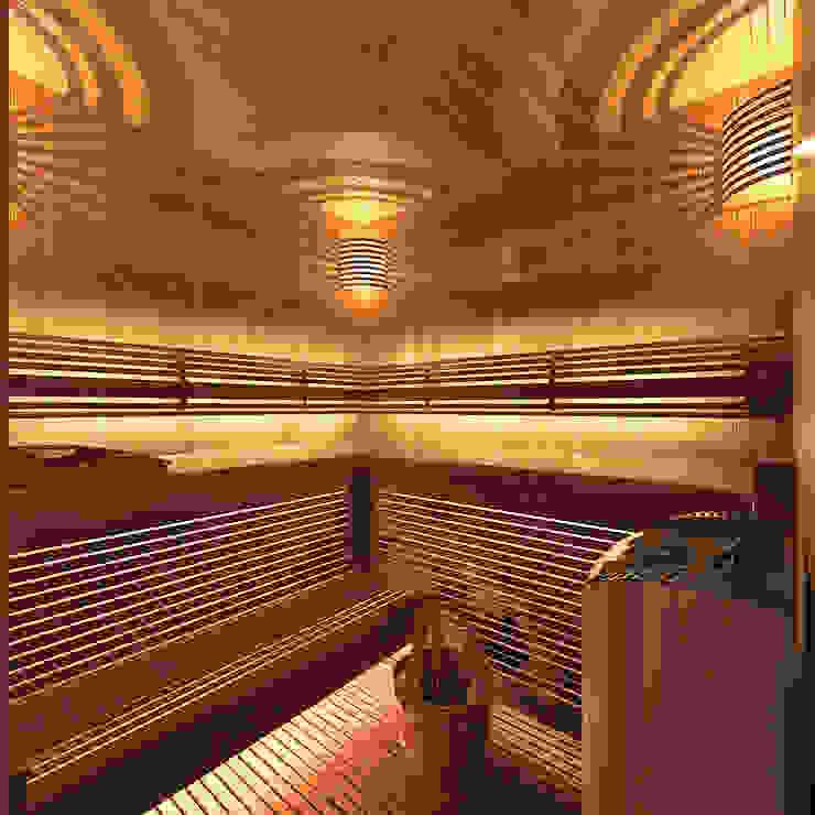 Сауна в цокольном этаже Aledoconcept Спа в эклектичном стиле