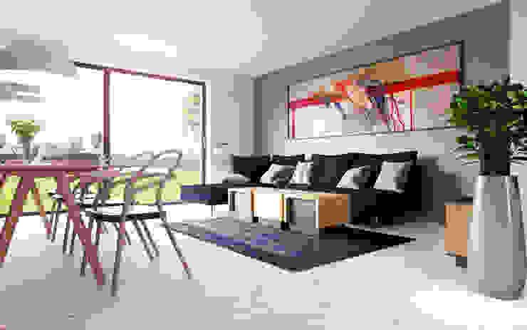 D&L mieszkanie Minimalistyczny salon od hanczar studio Minimalistyczny