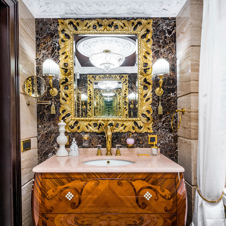 Интерьер загородного дома в стиле Эклектика Belimov-Gushchin Andrey Ванная комната в эклектичном стиле