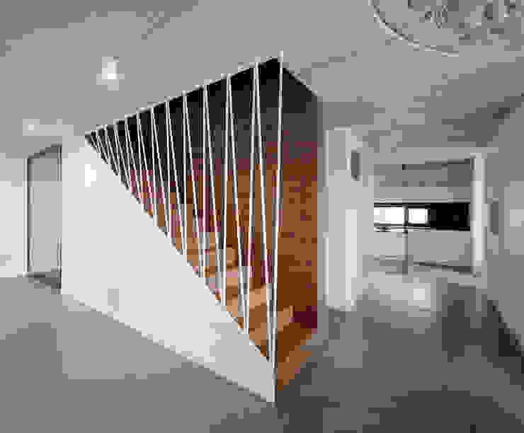 WNĘTRZE DOMU POD ŁODZIĄ BASK grupa projektowa Minimalistyczny korytarz, przedpokój i schody