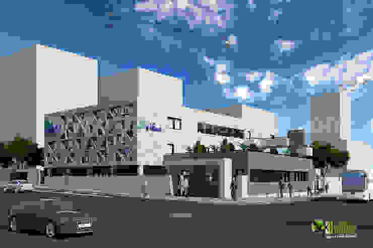 3D Commercial Office Exterior Rendering Design Modern office buildings by Yantram Architectural Design Studio Modern