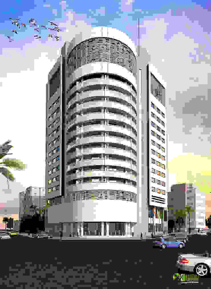 3D Corporate Architectural Exterior Design Rendering: modern  by Yantram Architectural Design Studio, Modern