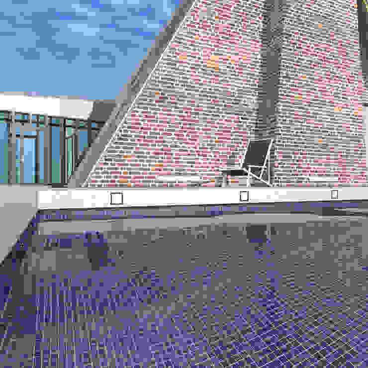 Треугольный Дом из концептуальной серии <q>Чеснок</q> Бассейн в стиле минимализм от CHM architect Минимализм