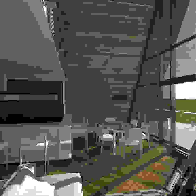 Треугольный Дом из концептуальной серии <q>Чеснок</q> Гостиная в стиле минимализм от CHM architect Минимализм