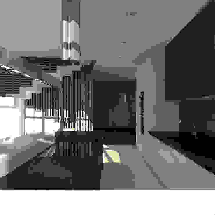 Треугольный Дом из концептуальной серии <q>Чеснок</q> Кухня в стиле минимализм от CHM architect Минимализм