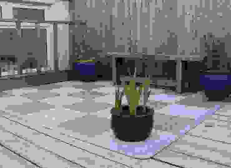 Bergo XL tiles in chequer pattern Balcone, Veranda & Terrazza in stile scandinavo di Ecotile Flooring Scandinavo