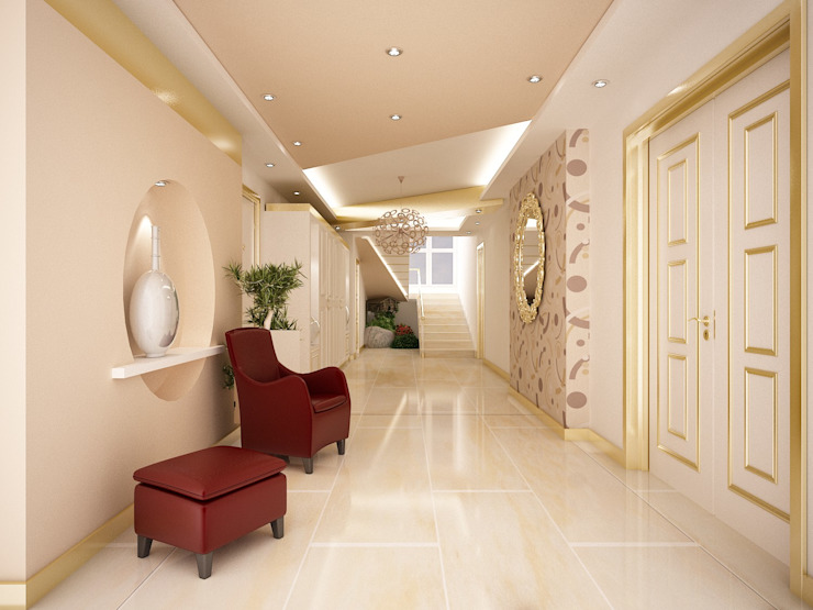 Sinem ARISOY KEÇECİ Klasik Koridor, Hol & Merdivenler Sinar İç mimarlık Klasik