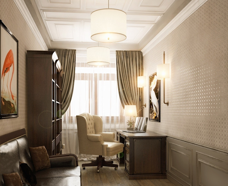 Private residence in Ekaterinburg Рабочий кабинет в классическом стиле от E_interior Классический