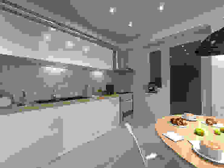 Скандинавия: визуализация современной квартиры Кухня в скандинавском стиле от OK Interior Design Скандинавский