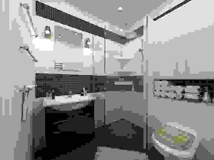 Скандинавия: визуализация современной квартиры OK Interior Design Ванная комната в скандинавском стиле