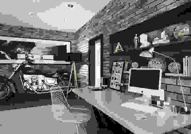 Мужская обитель, квартира-студия Гостиная в стиле лофт от OK Interior Design Лофт