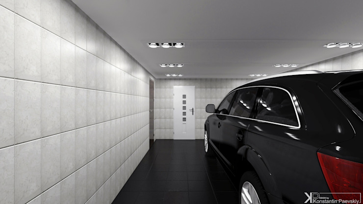 Современный монохром в таунхаусе Гараж в стиле минимализм от Константин Паевский-PAEVSKIYDESIGN Минимализм