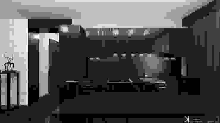 Современный монохром в таунхаусе Кухня в стиле минимализм от Константин Паевский-PAEVSKIYDESIGN Минимализм