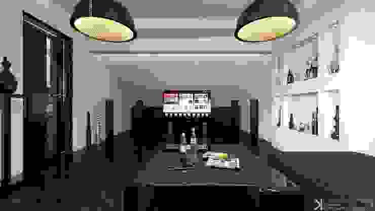 Современный монохром в таунхаусе Медиа комната в стиле минимализм от Константин Паевский-PAEVSKIYDESIGN Минимализм