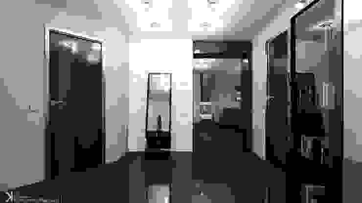 Современный монохром в таунхаусе Коридор, прихожая и лестница в стиле минимализм от Константин Паевский-PAEVSKIYDESIGN Минимализм
