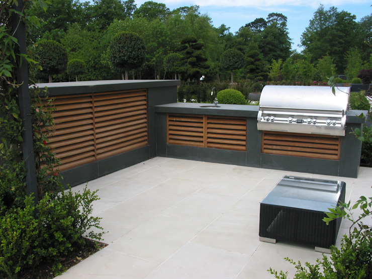 wooden louvres and fire magic bbq wood-fired oven สวน