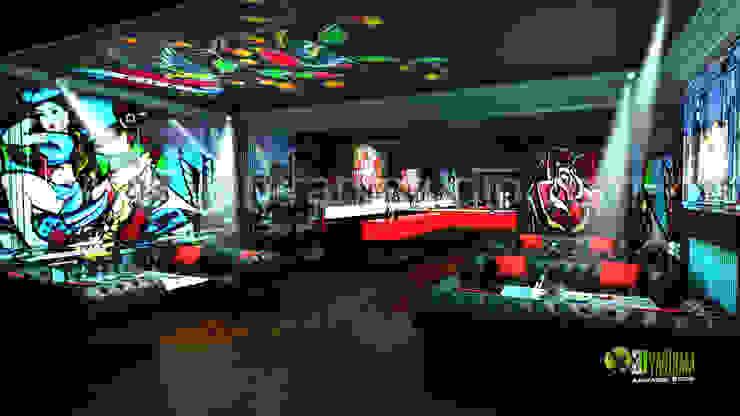 3D Interior Design Rendering for commercial Night View Pub bar: modern  by Yantram Architectural Design Studio, Modern